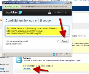 Condividere email con Twitter