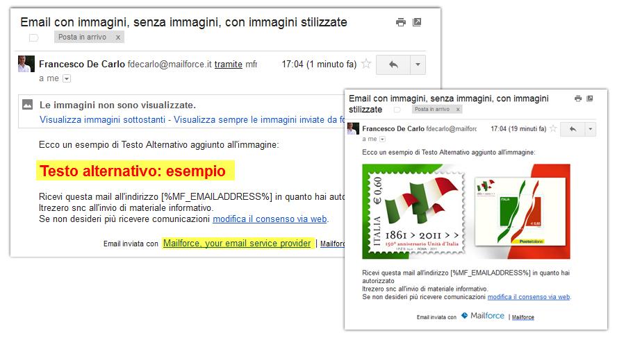 Email con e senza immagini, con ALT stilizzato (su GMAIL)