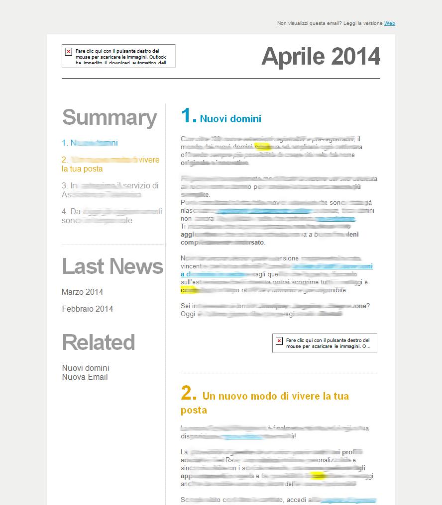 Email senza immagini ma con testo ottimizzato (Outlook 2013)
