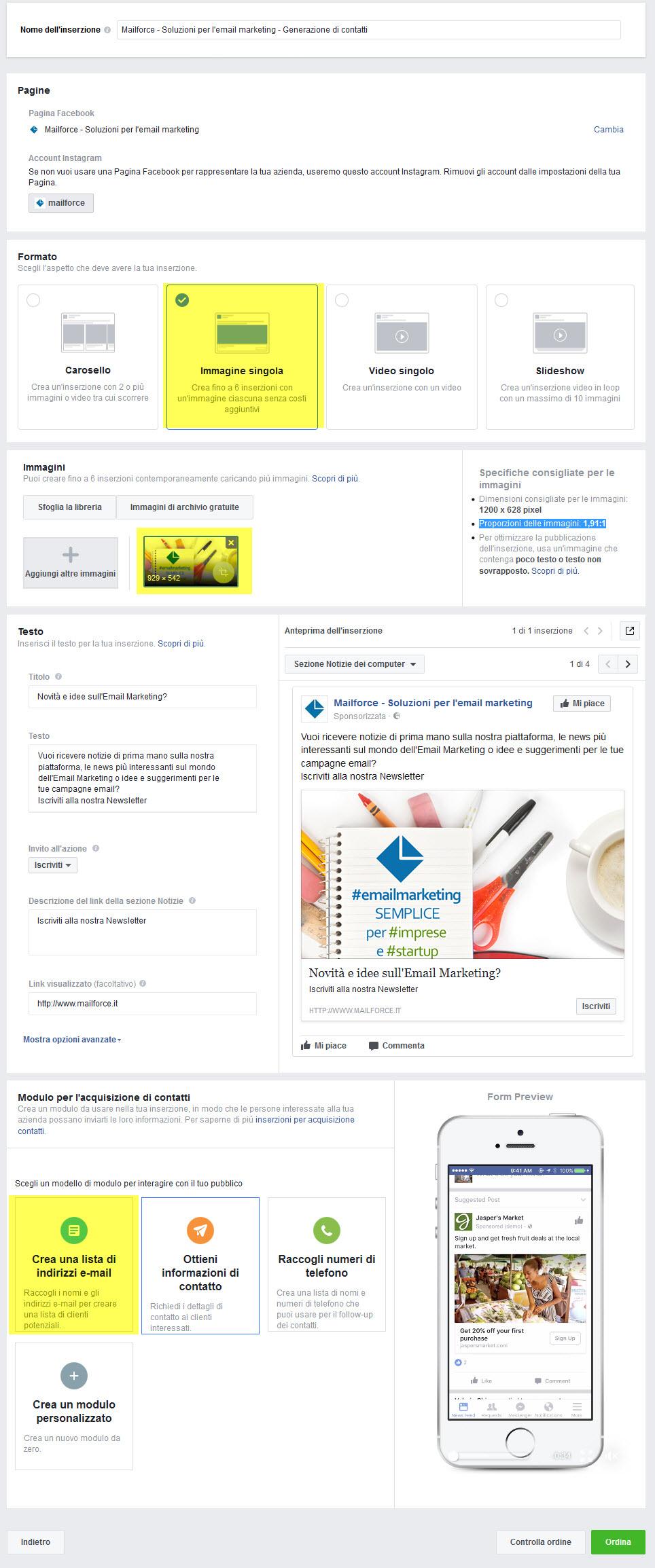 Email Marketing, Lead Generation con Facebook: Costruzione dell'inserzione