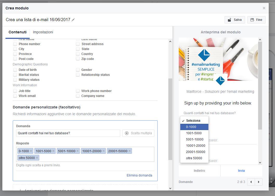Marketing, Lead Generation con Facebook: definizione del Form di iscrizione