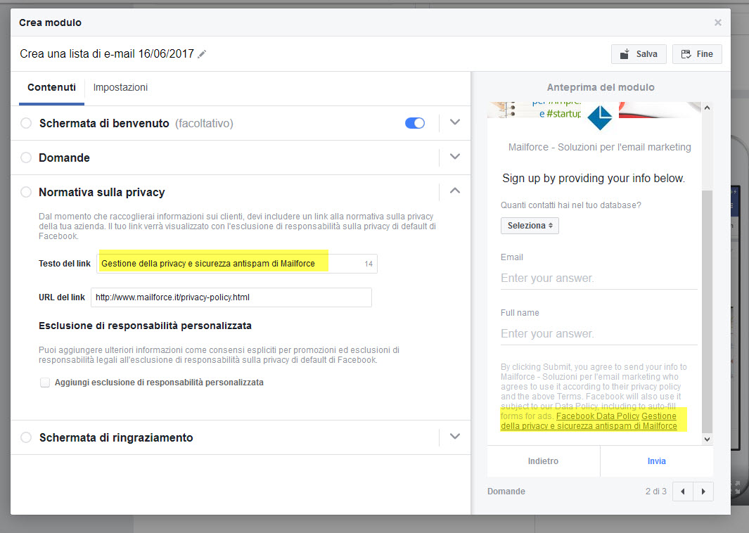 Email Marketing, Lead Generation con Facebook: inseriamo il Link obbligatorio alla normativa Privacy