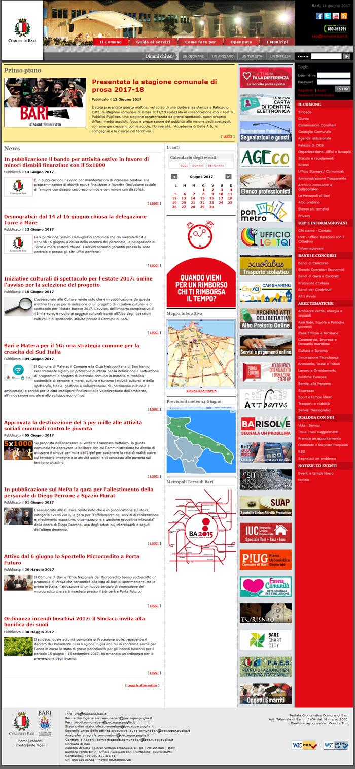 Il sito del Comune di Bari: nessuna Newsletter