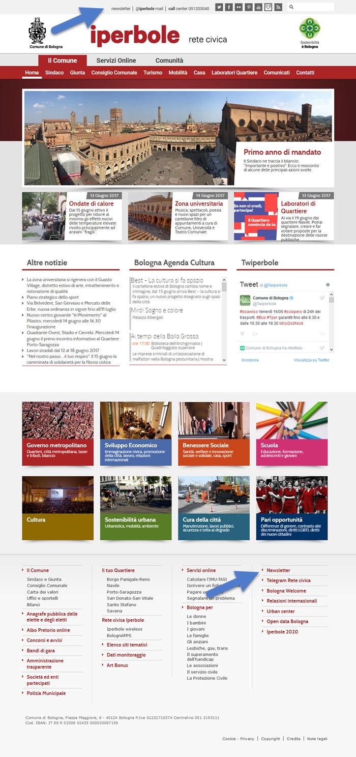 Il sito del Comune di Bologna: link di iscrizione in bell'evidenza