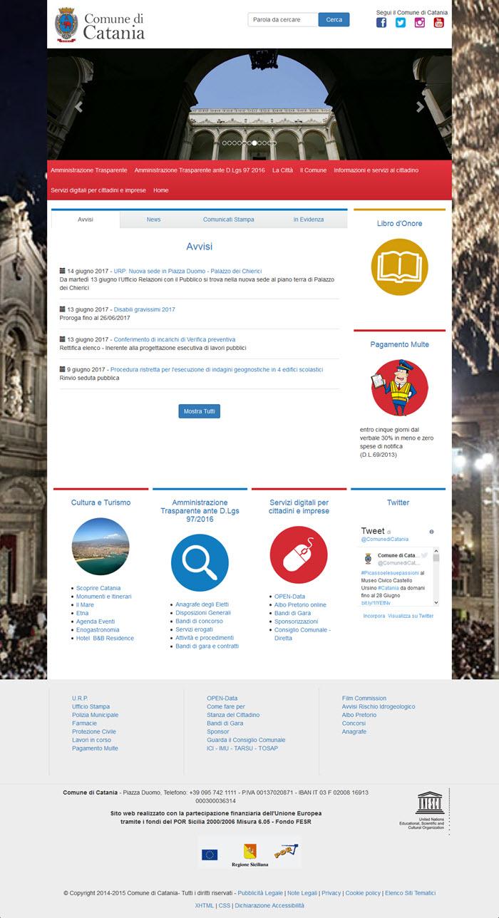 Il sito del Comune di Catania: nessuna Newsletter