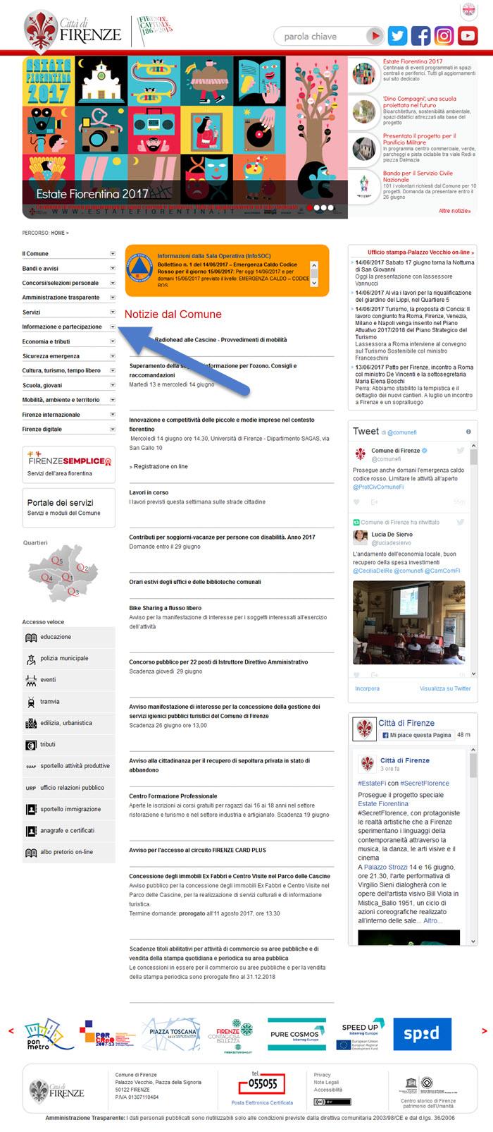 Il sito del Comune di Firenze: nessuna Newsletter