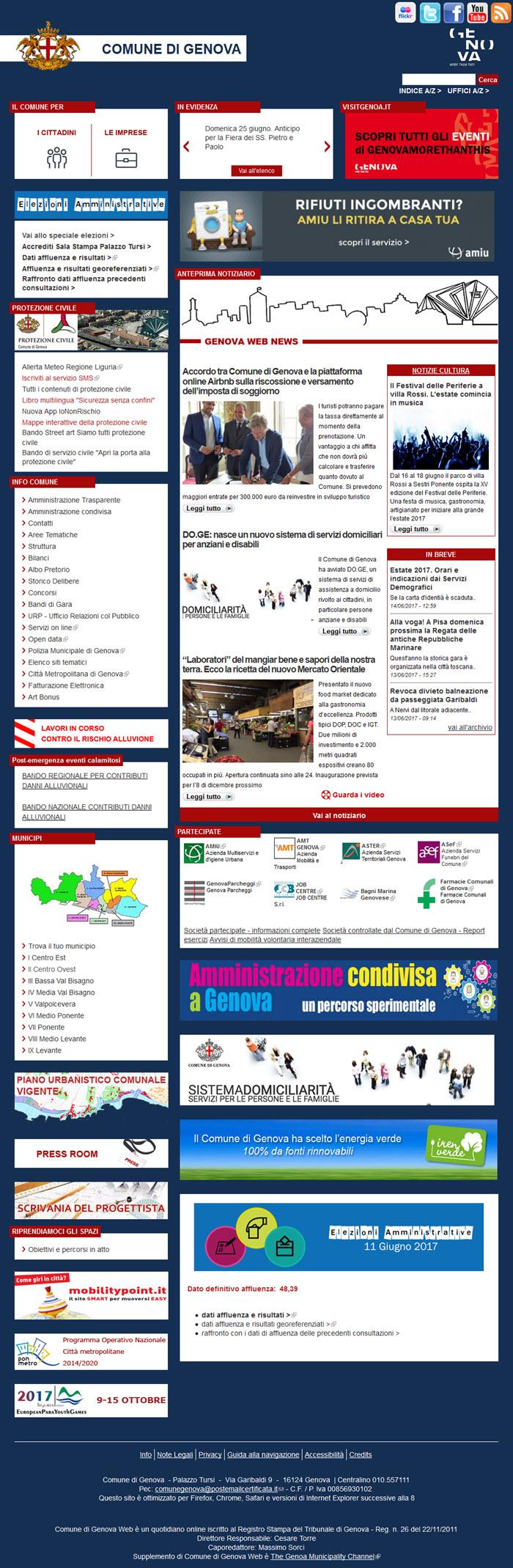 Il sito del Comune di Genova: nessuna newsletter