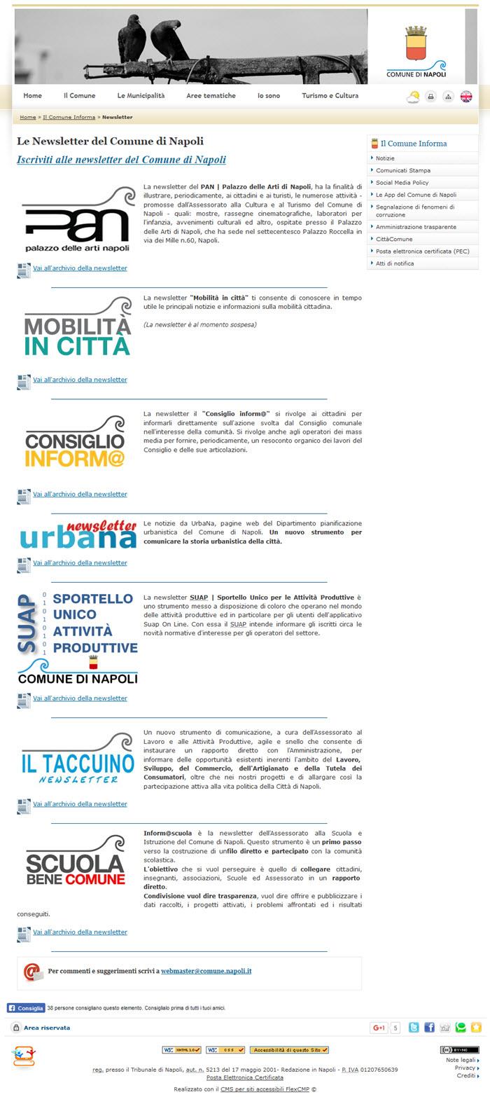 Napoli: le numerose Newsletter gestire dal Comune