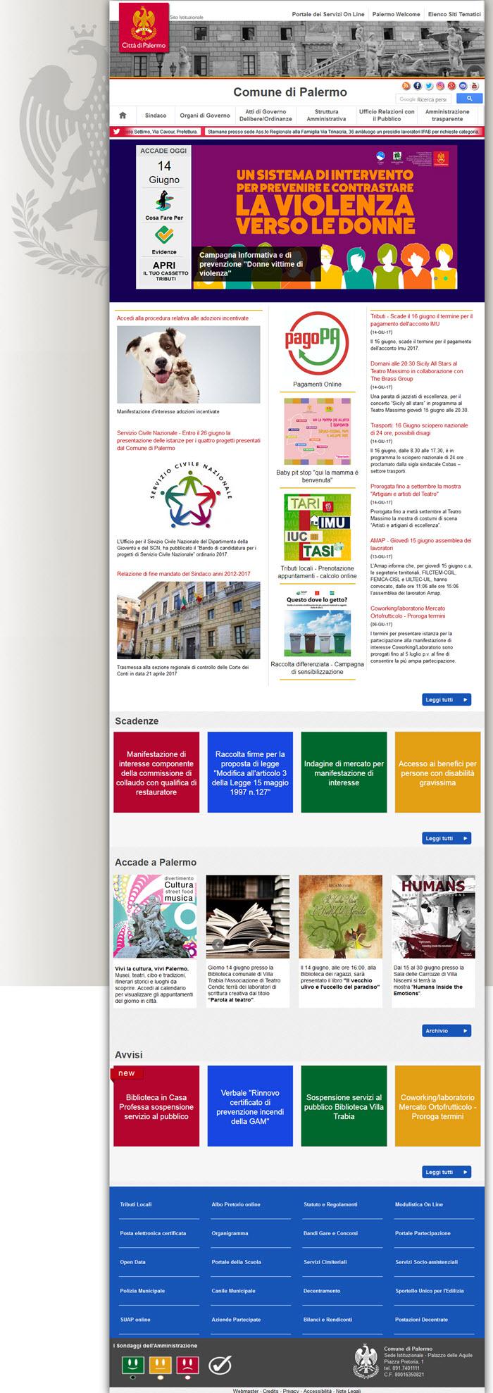 Il sito del Comune di Palermo: nessuna newsletter